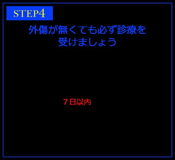 STEP4 外傷が無くても必ず診療を受けましょう